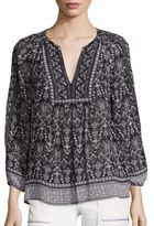 Joie Jaya Stitched Geometric Print Silk Blouse