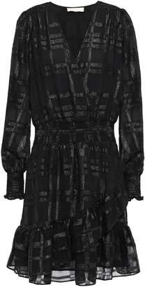 MICHAEL Michael Kors Wrap-effect Shirred Metallic Fil Coupe Mini Dress