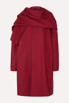 Balenciaga Draped Houndstooth Wool Coat - Red