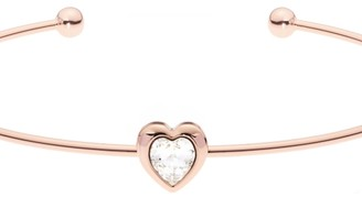Ted Baker Ladies Rose Gold Plated Crystal Heart Ultrafine Cuff Bangle TBJ1682-24-02