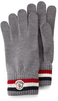 Moncler Striped Logo Cashmere Knit Gloves