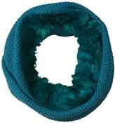 Badgley Mischka Women's Honeycomb Stitch Collar Scarf with Faux Chinchilla