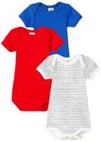 Petit Bateau Set of 3 baby boys short-sleeved bodysuits