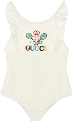 Gucci Embroidery Logo Lycra One Piece Swimsuit