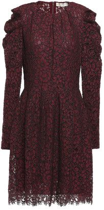MICHAEL Michael Kors Gathered Cotton-blend Corded Lace Mini Dress