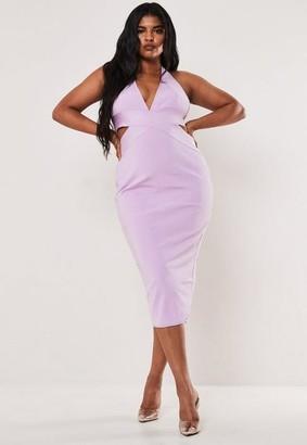 Missguided Size Lilac Halterneck Bandage Midaxi Dress