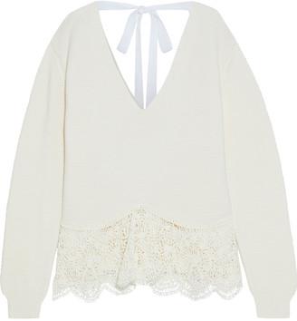 Stella McCartney Tie-back Crochet-paneled Cotton Sweater