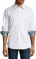 Robert Graham Jaquard Long-Sleeve Sport Shirt, White