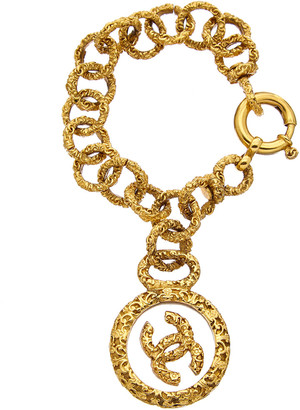 Chanel Gold-Tone Glass Cc Charm Bracelet