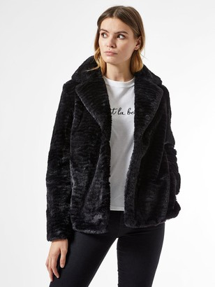 Dorothy Perkins Collar And Revere Textured Faux Fur Coat - Black