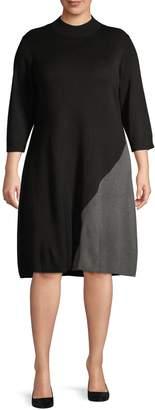 Calvin Klein Plus Colourblock Asymmetrical Sweater Dress