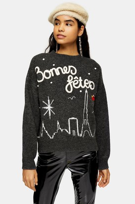 Topshop Womens Christmas Knitted Bonnes Fetes Jumper - Charcoal