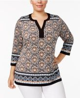 Charter Club Plus Size Split-Neck Tunic, Only at Macy's
