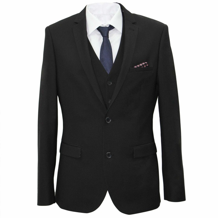 Thumbnail for your product : carter & jones Suit Big & Tall Tailored Fit Three Piece in Black 56R