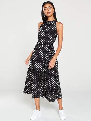 Wallis Polka Dot Fit And Flare Dress - Black