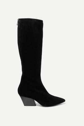 AEYDĒ Harper Suede Knee Boots - Black