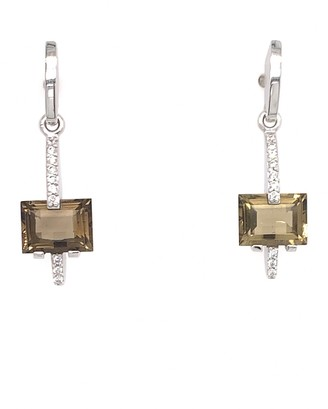 Breuning 14K White Gold Smoky Quartz & Diamond Drop Earrings
