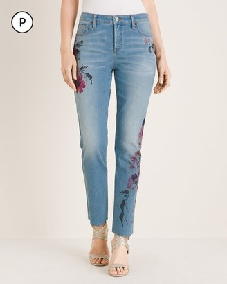 So Slimming Petite Floral Girlfriend Ankle Jeans