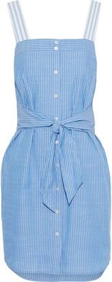 Joie Galileet Pinstriped Cotton-chambray Mini Dress