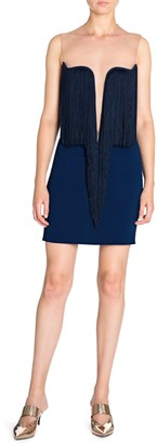 Stella McCartney Gisele Stretch Cady Sleeveless Fringe Dress