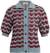 Marni Scallop-striped knit wool-blend cardigan