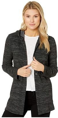 Lucky Brand Hooded Button Jacket (Lucky Black) Women's Sweater