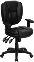 Offex Of-GO-930F-BK-Lea-Arms-GG Mid-Back Leather Multi-Functional Ergonomic Task Chair with Arms