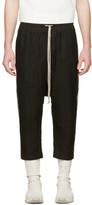 Rick Owens Black Mesh Drawstring Cropped Trousers