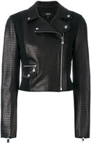 Versus embossed crocodile effect biker jacket - women - Lamb Skin/Polyamide/Polyester/Viscose - 40