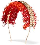 Rosantica Atena fringed gold-tone headband