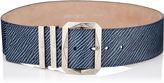 Jimmy Choo BLITZ/L Navy Mix Denim Embossed Leather Waist Belt