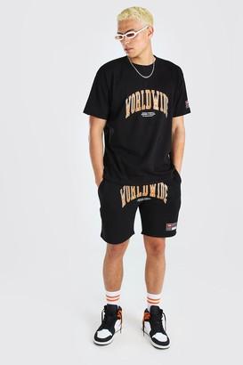 boohoo Mens Black Loose Fit Worldwide Print T-Shirt & Short Set, Black