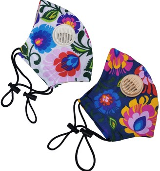2 Pack Reusable Cotton Face Mask White Flowers