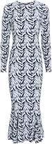 Norma Kamali Tile Print Crewneck Midi Dress