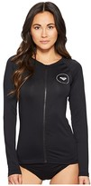 Roxy Essentials Long Sleeve UPF 50 Zip Up Rashguard (Anthracite) Women's Swimwear