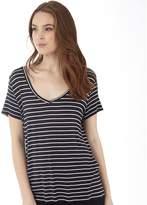 Jacqueline De Yong Womens Spirit Stripe V-Neck T-Shirt Dark Navy