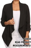 CurvyLuv.com Womens Plus Size Semi-Sheer Blazer Asymmetrical Open Front Fold Over Lapel Jacket