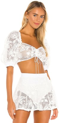 For Love & Lemons Crochet Daisy Crop Top
