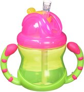 Nuby Luv N Care 2 Handle Flip n' Sip Straw Cup, 8 Ounce, 12 Months +, Colors May Vary