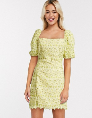 Object broderie milkmaid mini dress with puff sleeves in yellow