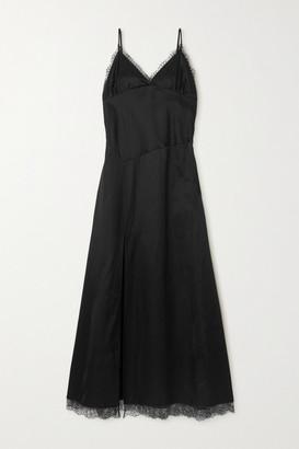 MM6 MAISON MARGIELA Lace-trimmed Cotton-blend Satin Maxi Dress