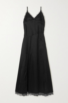 MM6 MAISON MARGIELA Lace-trimmed Cotton-blend Satin Maxi Dress - Black