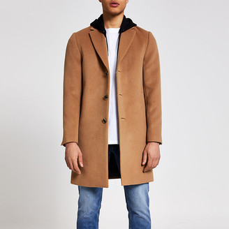 River Island Camel hooded overcoat