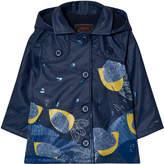 Catimini Navy Leaf and Glitter Print Raincoat