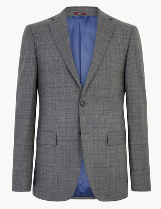 Marks and Spencer Charcoal Checked Wool Jacket