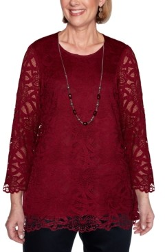 Alfred Dunner Petite Madison Avenue Solid Lace Top