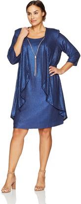 R & M Richards R&M Richards Women's Plus Size Two Piece Foil Cascade Jacket Dress Large