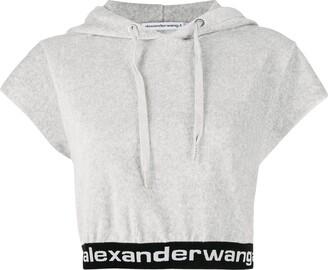 T By Alexander Wang Cropped Short-Sleeve Hoodie
