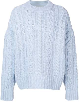 Ami Paris Crewneck Cable Knit Oversize Sweater