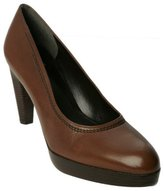 hickory brown stacked platform 'Cabled' pumps